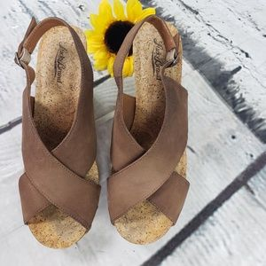 Lucky Brand Brown Leather Cork Wedge 8.5